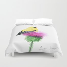 Little Goldfinch by Teresa Thompson Duvet Cover