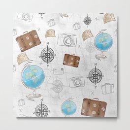 Travel vacation pattern Metal Print