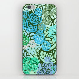 Colorful Overlapping Roses on Roses Print Design 2 iPhone Skin