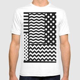 Mixed Patterns (Horizontal Stripes/Polka Dots/Wavy Stripes/Chevron/Checker) T-shirt