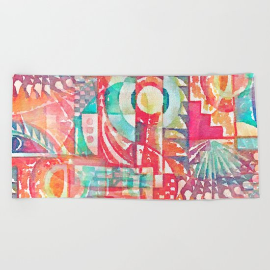 Sunshine Geometry in Watercolor Beach Towel