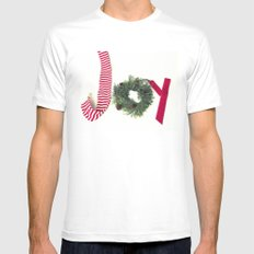 Holiday Joy at Christmastime!  White MEDIUM Mens Fitted Tee