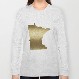 minnesota gold foil state map Long Sleeve T-shirt