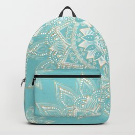 Elegant White Gold Mandala Sky Blue Design Backpack