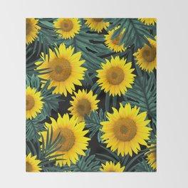 Tropical Sunflower Jungle Night Leaves Pattern #1 #tropical #decor #art #society6 Throw Blanket