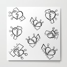 Hearts with Stitches - Black Outline Metal Print