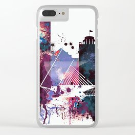 Milwaukee Watercolor Skyline Clear iPhone Case