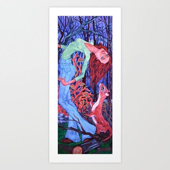 Midnight Dance with an Otter Art Print
