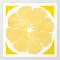 lemon Art Prints featuring Lemon by Make-Ready