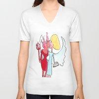 lesbian V-neck T-shirts featuring Angel/devil lesbian kiss by Nehalennia