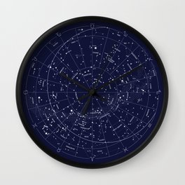 Constellation Map Indigo Wall Clock