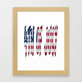 4th of July Stars and Stripes Typography American Flag Colors Framed Art Print