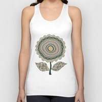 mineral Tank Tops featuring Fabby Flower-Mineral colors by Groovity