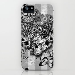 Lost and Found, floral owl with sugar skull iPhone Case