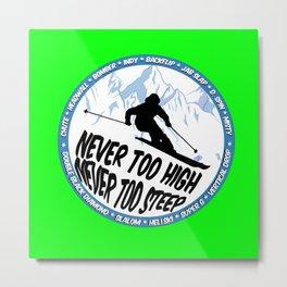 Ski Neon Green 2 Metal Print