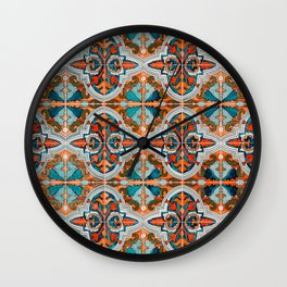 Seamless Floral Pattern Ornamental Tile Design  3 - Red Wall Clock