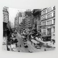 broadway Wall Tapestries featuring Vintage Broadway NYC Photograph (1920) by BravuraMedia