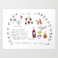 Coq Au Vin Recipe Art Print