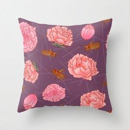 Carnations & Crickets Throw Pillow