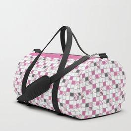 Gray white pink geometric pattern Duffle Bag