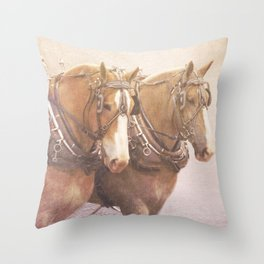 Draft Horses 2 Throw Pillow