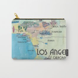 Greater Los Angeles Fine Art Print Retro Vintage Map with Touristic Highlights in colorful retro pri Carry-All Pouch