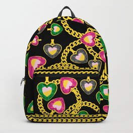 Fashion Pattern with Golden Chains and Jewelry Backpack