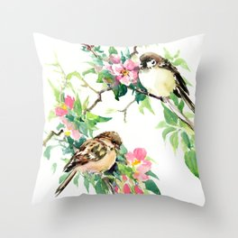 Sparrows and Apple Blossom, spring floral bird art Throw Pillow