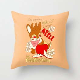 Jackalope and Apple Throw Pillow