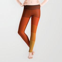 Orange Brown Retro Graphic Design Stripe Art - Uwan Leggings