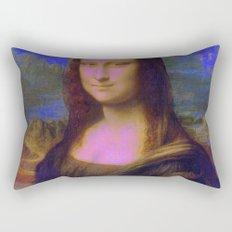 Mona Lisa's Haze (blue) Rectangular Pillow