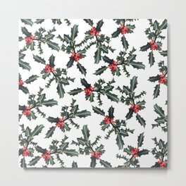 Christmas  Forest Green Red Holly Berries Folliage Metal Print