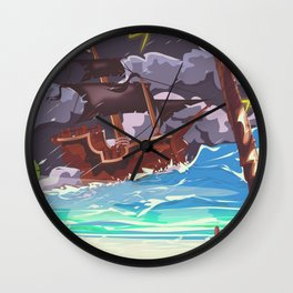 Pirate ship in a storm Wall Clock