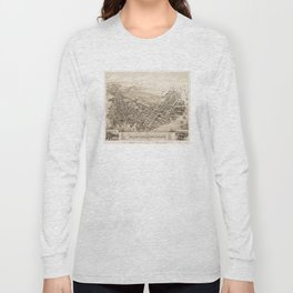 Vintage Pictorial Map of East Boston (1879) Long Sleeve T-shirt