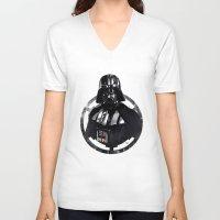 darth vader V-neck T-shirts featuring Darth Vader by Yvan Quinet