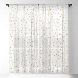 Gold Star Sprinkle on White Sheer Curtain