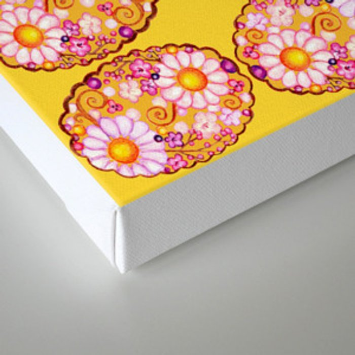 Floral Scalloped Oval in Purples, Browns and Mustard Yellow Canvas Print