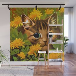 """Louis Wain's Cats """"Tabby in the Marigolds"""" Wall Mural"""