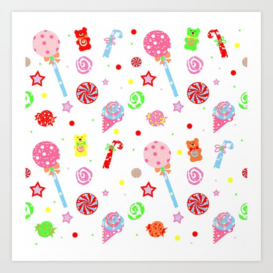 kid in a candy shop art print - Kid Prints