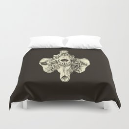 Coyote Skulls - Black and White Duvet Cover