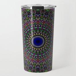 Colorful Sacred Kaleidoscope Mandala Travel Mug