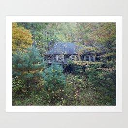 Woodland Cabin Art Print