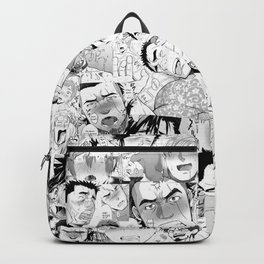 Ahegao Hentai Manga Guys Collage in B&W (Bara/Doujinshi) Backpack