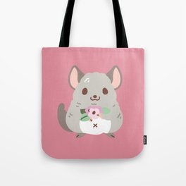 Chinchilla and flowers Tote Bag