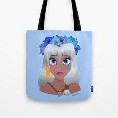 Blue Flower Crown Tote Bag