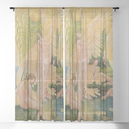 Golden Swans and the Maidens angelic garden landscape painting by Walter Crane Sheer Curtain