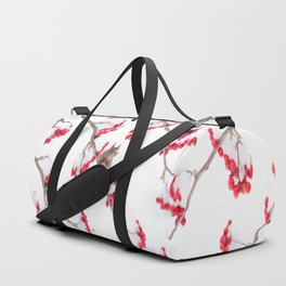 Cute Squirrel With Red Rowan Berries On A White Background #decor #society6 #buyart Duffle Bag