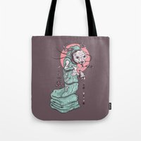 dragon Tote Bags featuring Dragon by theroyalbubblemaker