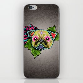 Pug in Fawn - Day of the Dead Sugar Skull Dog iPhone Skin