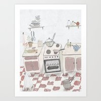 kitchen Art Prints featuring Kitchen by Inga Provorova